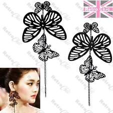 BIG 3 BLACK BUTTERFLY chandelier EARRINGS cutout LONG CHAINS butterflies dangle