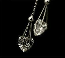 18K White Gold GP Austrian Crystal Long Heart Ear Jewelry Earrings BR1058