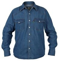 Big Size Kingsize Mens Duke Western Blue Long Sleeve Stonewash Denim Jean Shirt