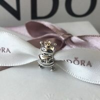 Genuine PANDORA Sterling Silver & 14ct Gold Queen Bee Charm 790227 NEW in Pouch
