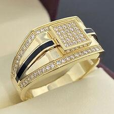 Luxury Diamond Black Enamel Men's Ring Rings Jewelry Father Boyfriend Size 7-13