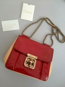 CHLOÉ Small 'Elsie' Patent Leather Shoulder Bag in Red&Beige