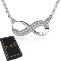 Unendlichkeit Halskette 925 Sterling Silber Damen ❤ Swarovski® Kristalle im ETUI