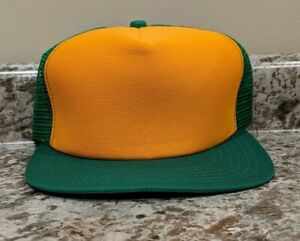 Vtg 2 color green & yellow 80s New Era Snapback Mesh Trucker Hat NOS  deadstock