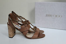 New sz 9.5 / 39.5 Jimmy Choo Margo Ghillie Lace Brown Leather Ankle Sandal Shoes