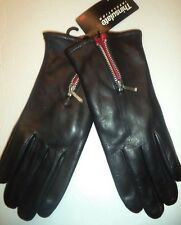 Ladies Thinsulate Zipper Cuff Genuine Leather Gloves,Small, Black