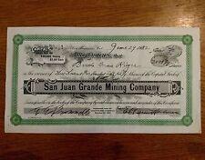 Stock Certificate San Juan Grande Mining Company, 3585 7/9 shares #132 1932