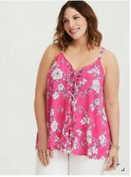 Torrid SOPHIE PINK FLORAL LACE-UP SWING CAMI Top Sz 1X NWOT
