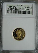 Sierra Leone 1997 50 Dollars ANACS PF-69 Lady Diana