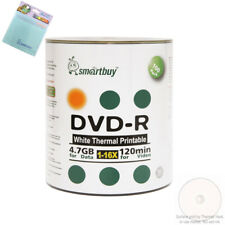 100 Smartbuy DVD-R 16X 4.7GB White Thermal Printable Disc+FREE Micro Fiber Cloth