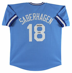 "Brett Saberhagen ""2x CY"" Authentic Signed Blue Pro Style Jersey BAS Witnessed"