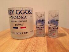 Grey Goose Vodka 1L bottle rocks glass & (2) 50ml Bottle Shot Glasses