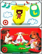 2x TARGET DOGS POKER NIGHT BABY CLOTHES TEDDY BEAR COLLECTIBLE GIFT CARD LOT