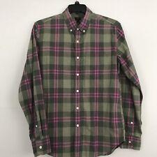 J. Crew Mens Plaid Shirt Slim Fit 100% Cotton Button Front Size Large
