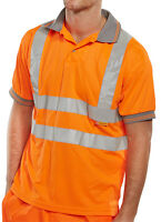BSeen High Visibility Orange Short Sleeve Polyester Polo Shirt Rail Spec Hi Viz