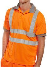 BSeen High Visibility Orange Short Sleeve Polyester Polo Shirt Rail Spec Hi Viz