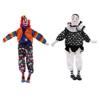 2pcs Harlequin Pierrot Jester Clown Porcelain Doll in Clothes 15inch Height