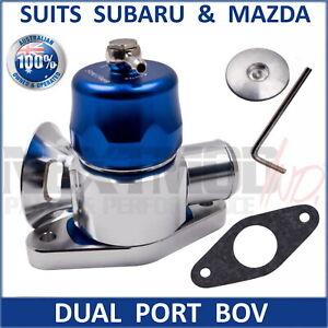 Dual Port Blow Off Valve BOV BLUE Fits Subaru Mazda WRX GT XT CX7 3 6 3in1 Turbo