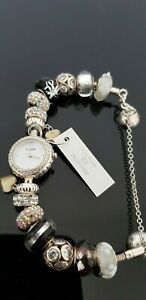 Accurist Charmed Sterling Silver Watch with 14 Silver Charms in Box with Booklet