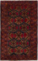 "Tribal Hand-knotted Carpet 3'8"" x 6'2"" Traditional Vintage Wool Rug"