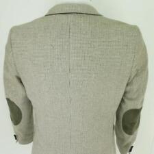 34 S (35) Raffinati Beige Gray Tweed Wool Leather Mens Jacket Sport Coat Blazer