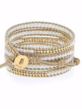 Chan Luu White Opal Mix Sectioned Wrap Bracelet on Beige Leather