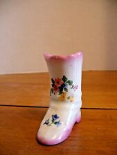 VINTAGE PORCELAIN COLLECTIBLE WHITE BOOT w/PINK EDGING & Hand Painted Flowers