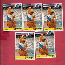 5 X RARE 1986 MONTREAL EXPOS/CANADIENS  YOUPPI  PROVIGO FOOD CARD