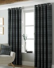 Riva Grey Aviemore Scottish Tartan Check Eyelet Curtains in 7 Sizes 66x90 Inches (168x229cm)