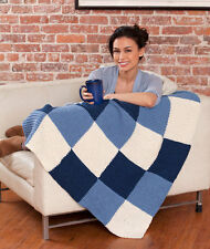 "KNITTING PATTERN -  EASY TO KNIT LAPGHAN BLANKET IN ARAN WOOL 37.5"" SQUARE"