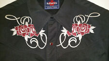 MWG Western Shirt 'Red Rose Stitch' Rose Colored Snaps Read Ad Canadian Made!