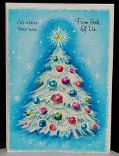 Vtg 50s UNUSED Gibson Christmas Greeting Card from Both of Us Blue Glitter Tree
