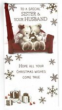 Sister And Husband Christmas Card With Cute Festive Design