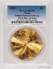 2020 Palau $5 Four-Leaf Clover 1oz of Luck Gilded Silver Coin PCGS MS70 FDI