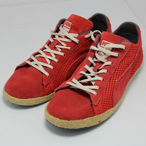 Puma Size 7 Red Suede Vtg Boho Style Sneakers