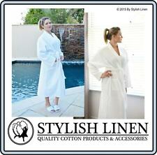 Bathrobe 100%25 Cotton Waffle Bath Robe New Adult DressingGown White Aqua Charcoal