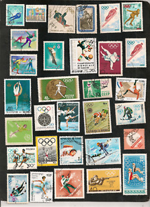 LOT 30 TIMBRES JEUX OLYMPIQUES SPORTS MONDE