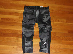 NIKE PRO GRAY/BLACK CAMO 3/4 COMPRESSION TRAINING TIGHTS MENS XL EXCELLENT COND.