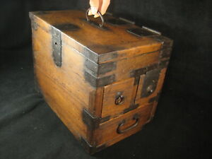 ANTIQUE JAPANESE EDO ERA (c1880) KIRI WOOD SUZURIBAKO CALLIGRAPHY TANSU CHEST