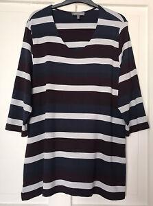 ULLA POPKEN Tunika Shirt 46/48 Viskose Stretch gestreift Blau bunt Top-Neuwertig