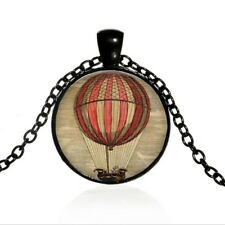 Hot Air Balloon Black Dome glass Photo Art Chain Pendant Necklace #TUO291