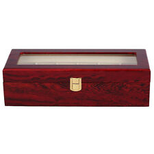 6 Wood Watch Display Case Box Glass Top Jewelry Storage Organizer Gift Men C2Q4