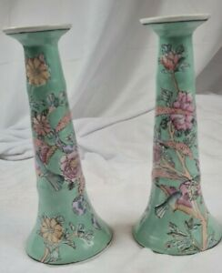 VTG Chinoiserie green Porcelain Floral Candle Sticks Holders hand painted macau