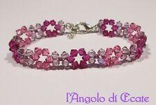 Idea regalo BRACCIALE BRACCIALETTO donna artigianale cristalli Swarovski rosa