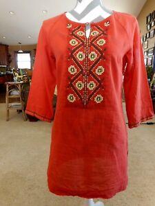 Dana Buchman Tunic Orange ish Salmon ish Green Brown Embroidery XSmall Cotton