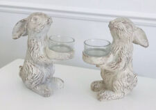 Pair Of Vintage Rustic Style Bunny Rabbit Tea light Candle Holder Decoration