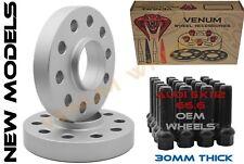 Pair Of Audi 30mm 5x112 Hub Centric Wheel Spacers W/ 10 Ball 14x1.5 Black Bolts