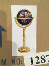 Gemstone World Globe with Brass Stand Desk / Floor 25 semi-precious stones - NEW