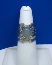 Estate Sterling & Natural Peruvian Blue ( Peacock ) Opal Cigar Band Ring Size 6