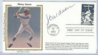 Hank Aaron Signed Autographed First Day Cover Cachet 1983 Braves JSA U82423